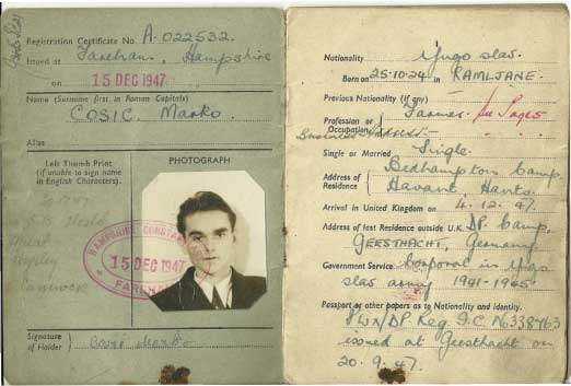 Marko osic Alien Registration Card