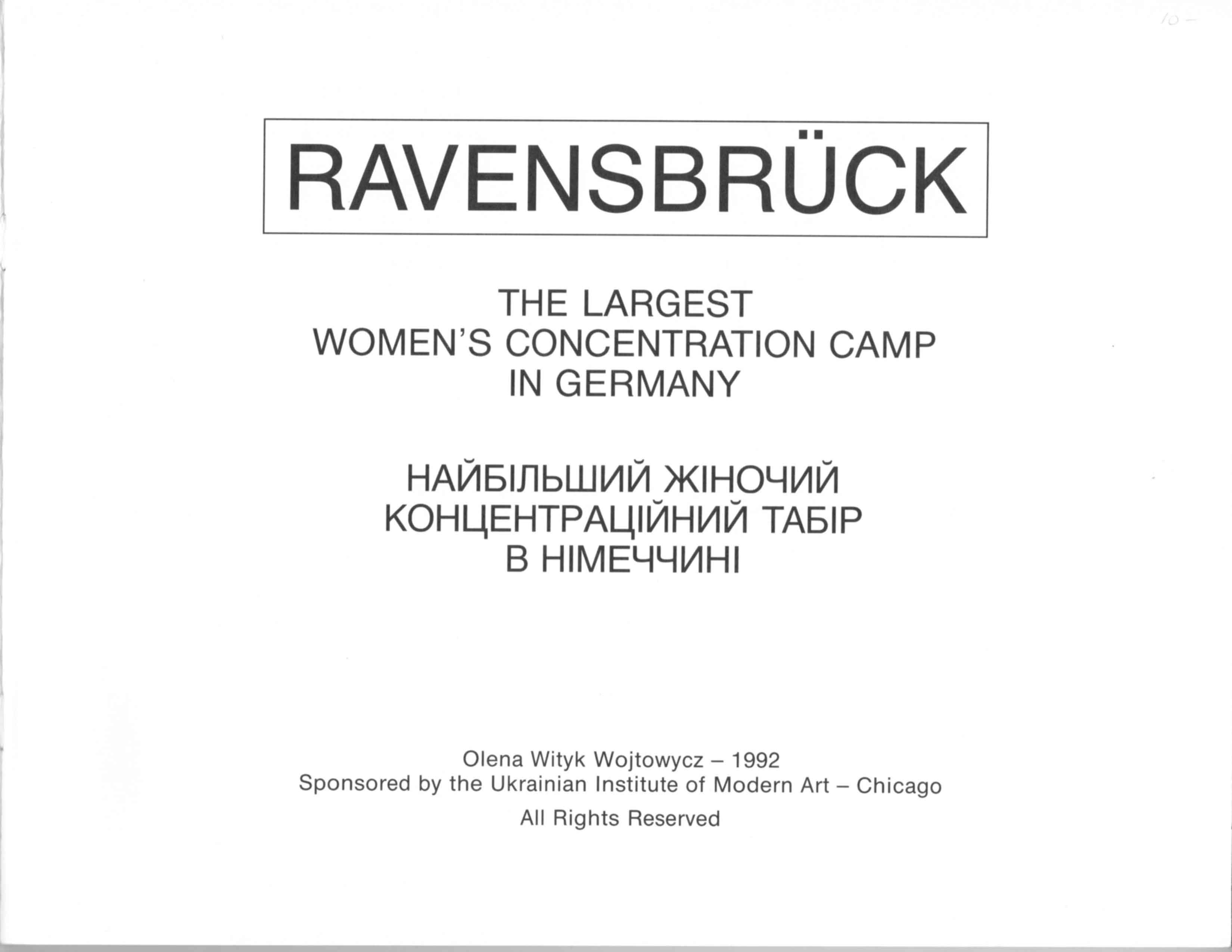 Ravensbruch Cover Page