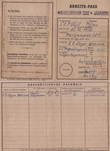 German Work Pass 1945